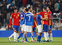 Italy and Spain players greet at the end of their Fifa World Cup 2018 qualification soccer match at Turin's Juventus Stadium, October 6, 2016. The game ended 1-1.<br /> UPDATE IMAGES PRESS/Isabella Bonotto