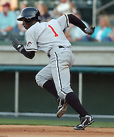 Outfielder Andrew McCutchen (1) of the Hickory Crawdads, the Pittsburgh Pirates affiliate of the Class A South Atlantic League, in a game against the Greenville Drive on May 13, 2006, at Fluor Field at the West End in Greenville, South Carolina. (Tom Priddy/Four Seam Images)