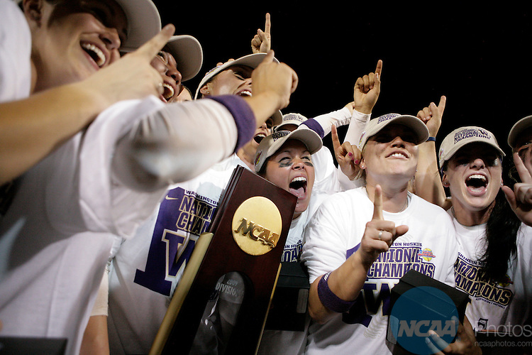 02 JUNE 2009:  The Washington Huskies celebrate their victory over the University of Florida during the Division I Women's Softball Championship held at the ASA Hall of Fame Stadium in Oklahoma City, OK.  Washington defeated Florida 3-2 in game two to win the national championship.  Shane Bevel/NCAA Photos