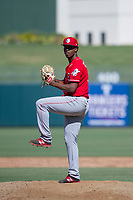 Cincinnati Reds pitcher Edward Escoboza (73) delivers a pitch to the plate during an Instructional League game against the Kansas City Royals on October 2, 2017 at Surprise Stadium in Surprise, Arizona. (Zachary Lucy/Four Seam Images)