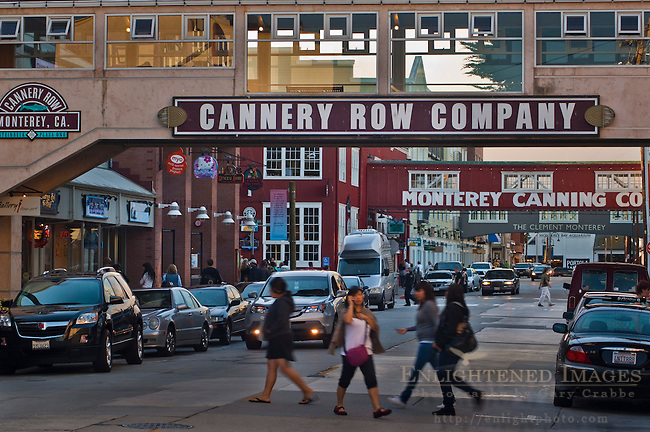 Tourists crossing street in the historic Cannery Row, Monterey, California