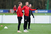 Aaron Ramsey (left) and Chris Gunter (right) of Wales during the Wales Training Session at The Vale Resort, Hensol, Wales, UK. Monday 19 November 2018