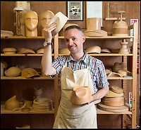 BNPS.co.uk (01202 558833)<br /> Pic: PhilYeomans/BNPS<br /> <br /> Wooden hat block maker Owen Morse-Brown from Wiltshire.<br /> <br /> The Heritage Craft Association have released a 'Red list' of Britains most critically endagered crafts and craftsmen.<br /> <br /> The list highlights some age old skills that are in grave danger of becoming extinct in the country formely known as the 'Workshop of the World'.<br /> <br /> According to research carried out on behalf of the HCA, four crafts have become extinct in the UK in the past 10 years &ndash; cricket ball making, gold beating, lacrosse stick making and sieve and riddle making.<br /> <br /> A further 17 crafts are classified as 'critically endangered' since they have only a handful of practitioners and few have any trainees. <br /> <br /> These include saw making, hat block making, horse collar making, paper marbling, piano making and making wooden planes for furniture. <br /> <br /> However, there are artisans scattered around the country keeping these traditional crafts alive who have long waiting lists because there is still a demand for their very specialised skills.