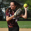 Kerri Donlan #16, Mepham left-handed second baseman, throws to first base for an out during a Nassau County Class A first round playoff game against Island Trees at Mepham High School on Friday, May 11, 2018. Mepham won 12-0 in five innings.