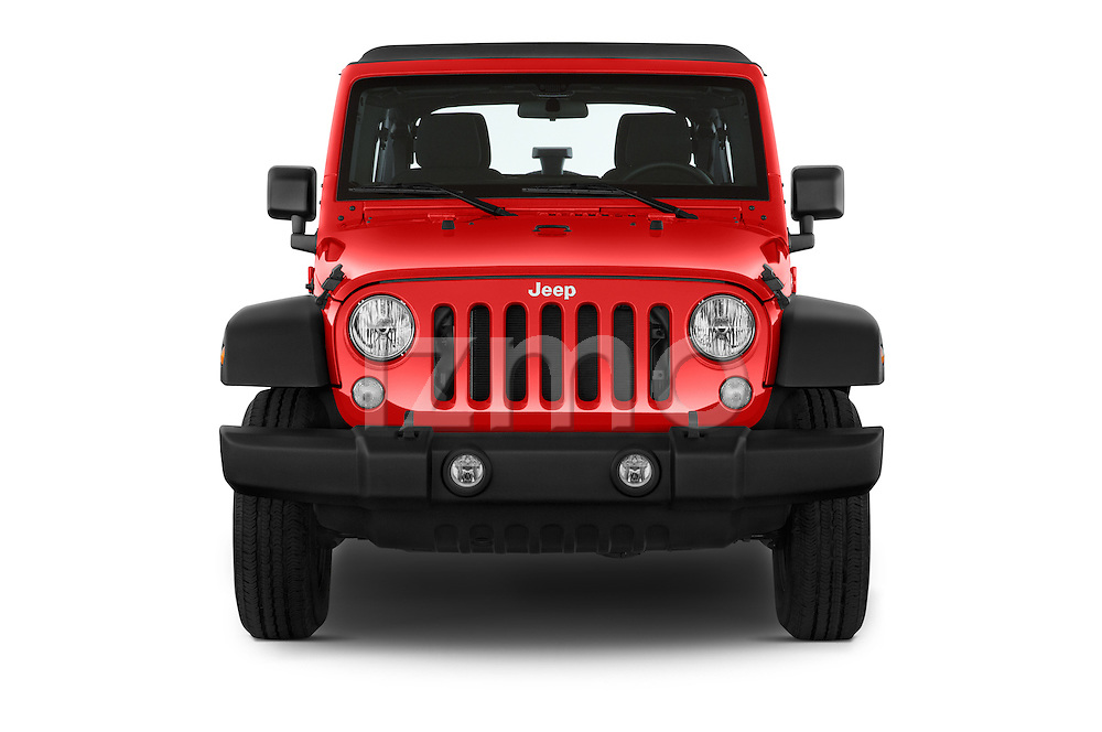 Car photography straight front view of a 2015 JEEP Wrangler Unlimited Sport 5 Door Sport Utility Vehicle Front View