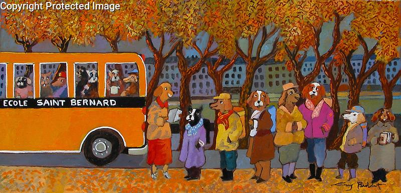 """Paris, Back to School at Ecole Saint Bernard""<br /> ORIGINAL Acrylic on Canvas<br /> 12x24<br /> Framed in Cherrywood with cream linen.<br /> $7,500"