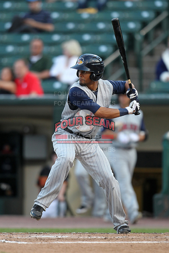 Toledo Mudhens outfielder Eric Patterson #3 during a game against the Empire State Yankees at Frontier Field on May 30, 2012 in Rochester, New York.  Empire State defeated Toledo 5-2.  (Mike Janes/Four Seam Images)