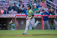 Eugene Emeralds catcher Caleb Knight (16) runs towards home plate during a Northwest League game against the Salem-Keizer Volcanoes at Volcanoes Stadium on August 31, 2018 in Keizer, Oregon. The Eugene Emeralds defeated the Salem-Keizer Volcanoes by a score of 7-3. (Zachary Lucy/Four Seam Images)
