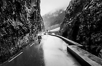 Julien Bernard (FRA/Trek-Segafredo) moving solo in a crevasse  through the torrential rains<br /> <br /> 76th Paris-Nice 2018<br /> Stage 8: Nice > Nice (110km)