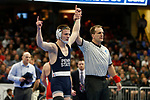 CLEVELAND, OH - MARCH 16: Jason Nolf, of Penn State, defeats Micah Jordan, of Ohio State, in the 157 weight class during the Division I Men's Wrestling Championship held at Quicken Loans Arena on March 16, 2018 in Cleveland, Ohio. (Photo by Jay LaPrete/NCAA Photos via Getty Images)