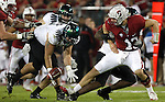 11/12/11--Oregon Ducks' Isaac Remington grasps for a loose ball that was knocked out of the hands of Stanford quarterback Andrew Luck by lineman Koa Ka'ai. The was eventually recovered by Ducks' Brandon Hanna.<br /> <br /> Photo by Jaime Valdez