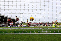 James Collins of Northampton Town (2nd left) scores the opening goal against Morecambe during the Sky Bet League 2 match between Northampton Town and Morecambe at Sixfields Stadium, Northampton, England on 23 January 2016. Photo by David Horn / PRiME Media Images.
