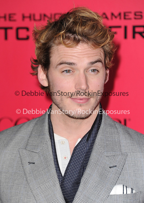 LOS ANGELES, CA - NOVEMBER 18: Sam Claflin arrives at   THE HUNGER GAMES: CATCHING FIRE L.A. Premiere held at Nokia Live  in Los Angeles, California on November 18,2012                                                                               © 2013  Hollywood Press Agency