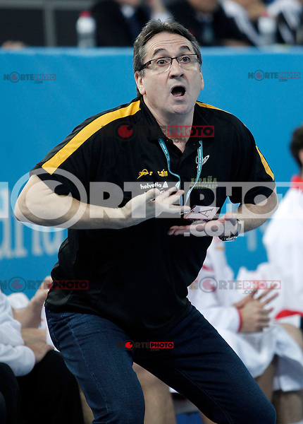 Spain's coach Valero Rivera during 23rd Men's Handball World Championship preliminary round match Hungary v Spain.January 17,2013. (ALTERPHOTOS/Acero)