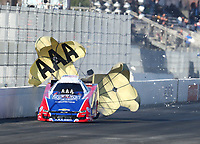 Feb 8, 2019; Pomona, CA, USA; NHRA funny car driver Robert Hight during qualifying for the Winternationals at Auto Club Raceway at Pomona. Mandatory Credit: Mark J. Rebilas-USA TODAY Sports