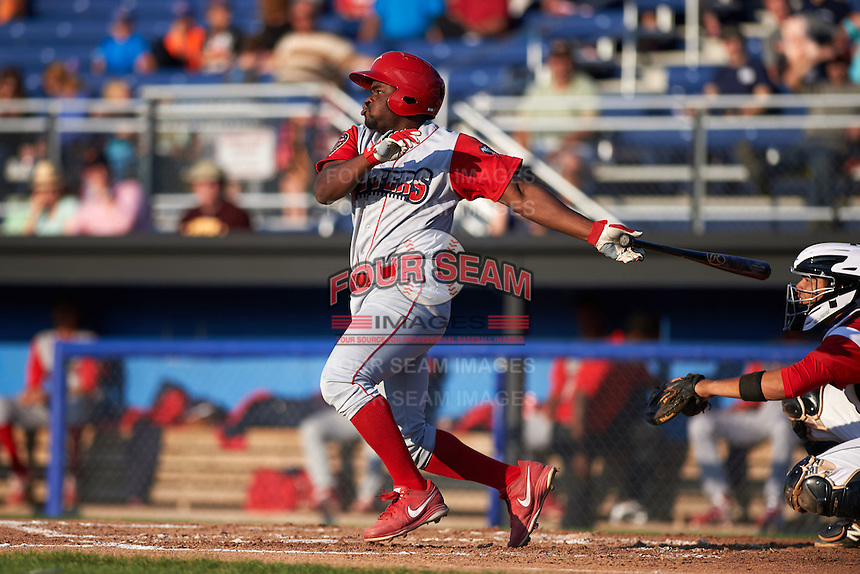 Williamsport Crosscutters second baseman Josh Tobias (33) at bat during a game against the Batavia Muckdogs on July 15, 2015 at Dwyer Stadium in Batavia, New York.  Williamsport defeated Batavia 6-5.  (Mike Janes/Four Seam Images)