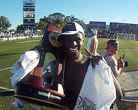 Kofi Sarkodie #8 of the University of Akron after the 2010 College Cup final against the University of Louisville at Harder Stadium, on December 12 2010, in Santa Barbara, California. Akron champions, 1-0.