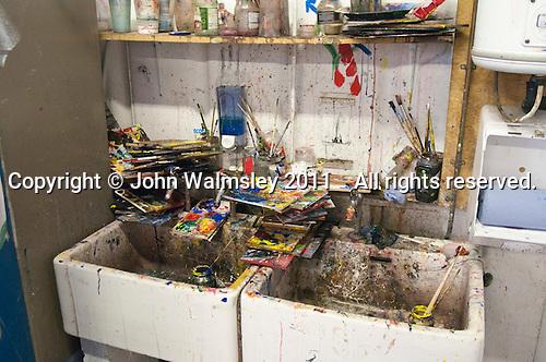 The sinks in the studio, Art & Design, Kingston College.