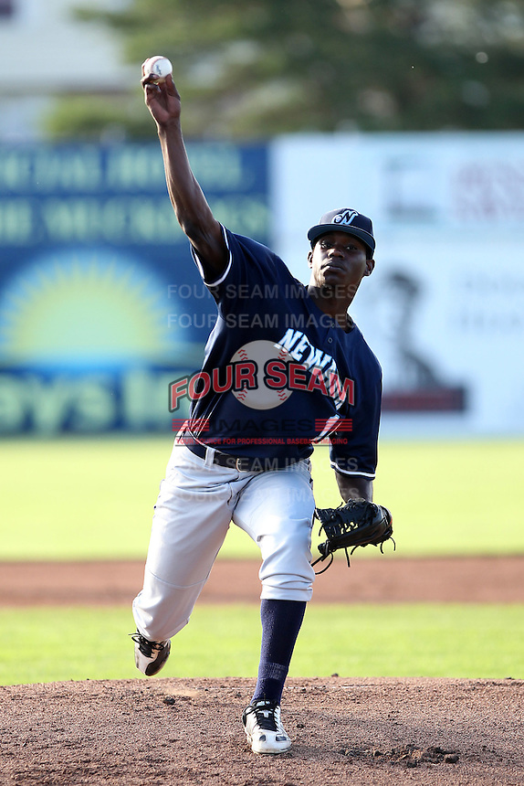 Newark Pilots, of the Perfect Game Collegiate Baseball League, pitcher Chris Doyle #10 during an exhibition game against the Batavia Muckdogs at Dwyer Stadium on June 15, 2012 in Batavia, New York.  Batavia defeated Newark 8-0.  (Mike Janes/Four Seam Images)