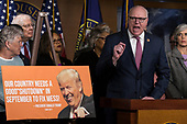 United States Representative Joe Crowley (Democrat of New York) speaks with reporters during a press conference held by US House Democrats at the US Capitol on the first morning of a government shutdown as congress looks to end the political deadlock and fund the government on January 20th, 2018 in Washington, D.C. <br /> Credit: Alex Edelman / CNP