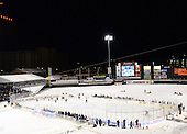 Overhead photo during the second period of The Frozen Frontier outdoor AHL game between the Lake Erie Monsters and Rochester Amerks at Frontier Field on December 13, 2013 in Rochester, New York.  (Copyright Mike Janes Photography)