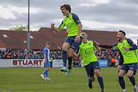 Ashley Palmer (Stockport County) celebrates after scoring during the Vanarama National League North match between Nuneaton Town and Stockport County at the Liberty Way Stadium, Nuneaton, England on 27 April 2019. Photo by James  Gill.