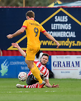 Northampton Town's Andy Williams is fouled by Lincoln City's Jason Shackell<br /> <br /> Photographer Chris Vaughan/CameraSport<br /> <br /> Emirates FA Cup First Round - Lincoln City v Northampton Town - Saturday 10th November 2018 - Sincil Bank - Lincoln<br />  <br /> World Copyright © 2018 CameraSport. All rights reserved. 43 Linden Ave. Countesthorpe. Leicester. England. LE8 5PG - Tel: +44 (0) 116 277 4147 - admin@camerasport.com - www.camerasport.com