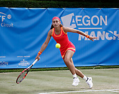 June 14th 2017, The Northern Lawn tennis Club, Manchester, England; ITF Womens tennis tournament; Number seven seed Aleksandra Krunic (SRB) in action during her first round singles match against Marina Erakovic (NZL); Krunic won in three sets