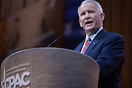 National Harbor, MD - March 7, 2014: Fmr. Lt. Col. Oliver North (USMC Ret.) addresses attendees of the 2014 Conservative Political Action Conference held at National Harbor, MD, March 7, 2014.   (Photo by Don Baxter/Media Images International)