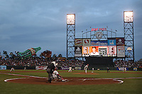 SAN FRANCISCO - APRIL 26:  Roy Halladay #34 of the Philadelphia Phillies pitches to San Francisco Giants batter Mark DeRosa #7 during their game at AT&T Park on April 26, 2010 in San Francisco, California. Photo by Brad Mangin