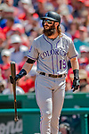 14 April 2018: Colorado Rockies outfielder Charlie Blackmon at bat in the 4th inning against the Washington Nationals at Nationals Park in Washington, DC. The Nationals rallied to defeat the Rockies 6-2 in the 3rd game of their 4-game series. Mandatory Credit: Ed Wolfstein Photo *** RAW (NEF) Image File Available ***