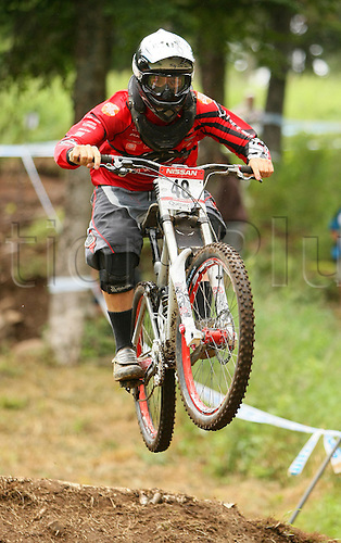 25 JULY 2009: Nathan Rankin from NZL in action during the Nissan Mountain Bike World Cup Downhill Men Finals at the Mont-Sainte-Anne, Quebec, Canada.(Photo: Jean-Yves Ahern/ActionPlus) UK Licenses Only