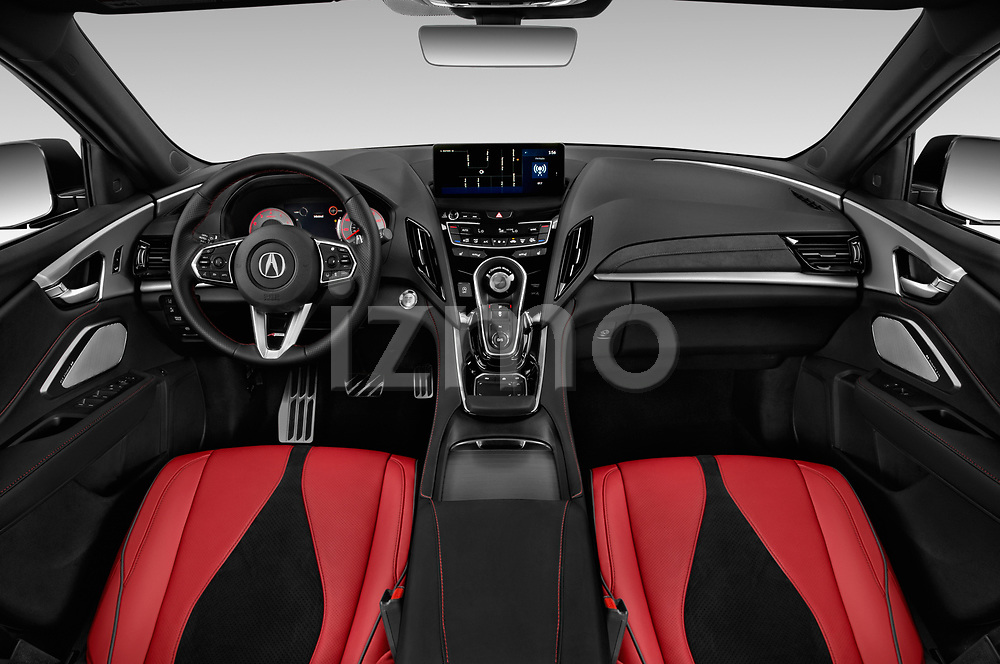 Stock photo of straight dashboard view of a 2020 Acura RDX A-Spec Package 5 Door SUV