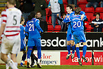 St Johnstone v Hamilton Accies....02.02.11  .Stevie May celebrates his second goal with Murray Davidson.Picture by Graeme Hart..Copyright Perthshire Picture Agency.Tel: 01738 623350  Mobile: 07990 594431