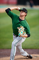 Clinton LumberKings pitcher Kyle Wilcox (15) warms up before a game against the West Michigan Whitecaps on May 3, 2017 at Fifth Third Ballpark in Comstock Park, Michigan.  West Michigan defeated Clinton 3-2.  (Mike Janes/Four Seam Images)