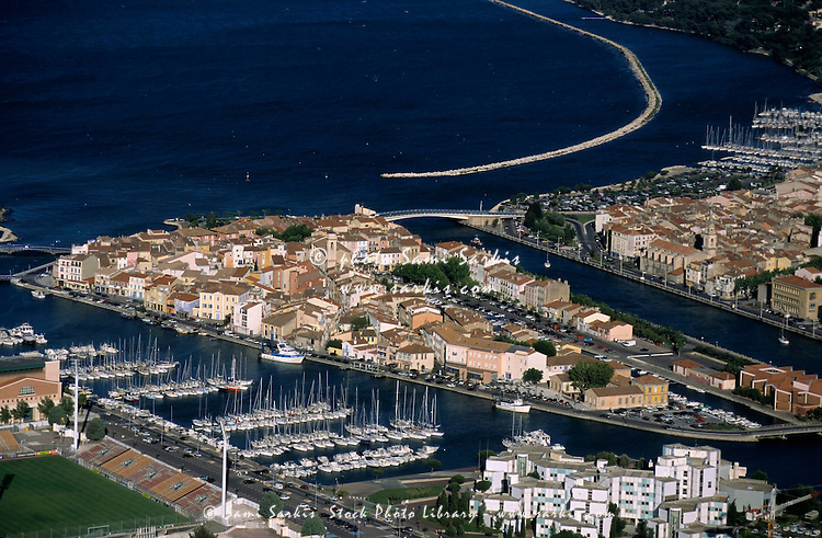 Boats in the marina at Vieux-Port with view of Berre Pond, Martigues, Provence, France.