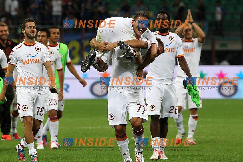 "Esultanza di Panagiotis Tachtsidis e Francesco Totti Roma.Celebration.Milano 02/09/2012 Stadio ""S.Siro"".Football Calcio Serie A 2012/13.Inter v Roma.Foto Insidefoto Paolo Nucci."