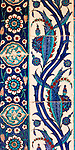 Iznik 08 - Stylized flower and leaf motifs on Iznik tiles in Rustem Pasa Mosque, Eminonu, Istanbul, Turkey