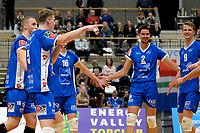 GRONINGEN - Volleybal, Abiant Lycurgus - Inter Rijswijk, Alfa College , Eredivisie , seizoen 2017-2018, 21-10-2017 Lycurgus speler Auke van der Kamp is blij met een punt
