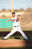 Cole Wiper (14) of the High Desert Mavericks pitches against the Lancaster JetHawks at Heritage Field on April 23, 2016 in Adelanto, California. High Desert defeated Lancaster, 10-9. (Larry Goren/Four Seam Images)