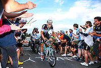 Picture by Alex Whitehead/SWpix.com - 13/09/2014 - Cycling - 2014 Friends Life Tour of Britain - Stage 7, Camberley to Brighton - Omega Pharma Quick-Step's Julien Vermote rides up Ditchling Beacon on his way to winning Stage 7 in Brighton.