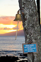 The bell to sound when spotting whales in Napili, Maui.