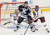 Brad Barone (BC - 29), Rob Slaney (StFX - 10), Scott Savage (BC - 28) - The Boston College Eagles defeated the visiting St. Francis Xavier University X-Men 8-2 in an exhibition game on Sunday, October 6, 2013, at Kelley Rink in Conte Forum in Chestnut Hill, Massachusetts.