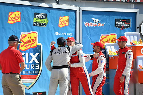 IMSA WeatherTech SportsCar Championship<br /> Sahlen's Six Hours of the Glen<br /> Watkins Glen International, Watkins Glen, NY USA<br /> Sunday 2 July 2017<br /> 93, Acura, Acura NSX, GTD, Andy Lally, Katherine Legge, 63, Ferrari, Ferrari 488 GT3, GTD, Alessandro Balzan, Christina Nielsen, Matteo Cressoni<br /> World Copyright: Richard Dole/LAT Images<br /> ref: Digital Image RD_WGI_17_567