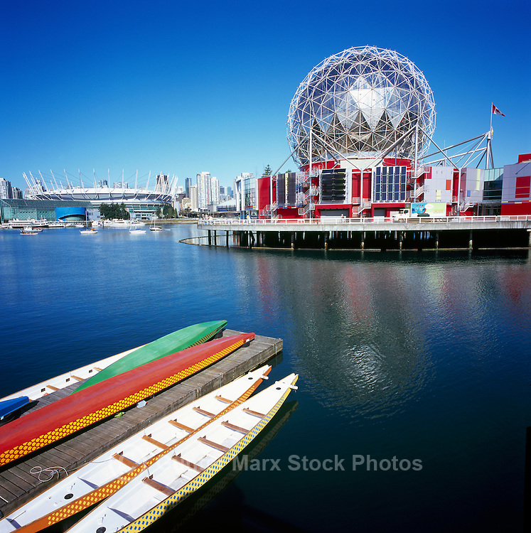 Vancouver, BC, British Columbia, Canada - Telus World of Science (aka Science World), and BC Place Stadium (New Roof completed in 2011) at False Creek - Renovation at Science World completed in 2012