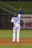 AFL West third baseman Vladimir Guerrero Jr. (27), of the Surprise Saguaros and Toronto Blue Jays organization, points at a fly ball during the Arizona Fall League Fall Stars game at Surprise Stadium on November 3, 2018 in Surprise, Arizona. The AFL West defeated the AFL East 7-6 . (Zachary Lucy/Four Seam Images)