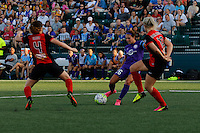 Rochester, NY - Saturday June 11, 2016: Orlando Pride forward Samantha Witteman (26), Western New York Flash midfielder Elizabeth Eddy (4), Western New York Flash midfielder Abigail Dahlkemper (13) during a regular season National Women's Soccer League (NWSL) match between the Western New York Flash and the Orlando Pride at Rochester Rhinos Stadium.