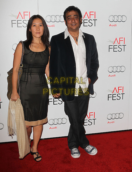 Yoon Cho, Anirban Roy.AFI FEST 2012 'On The Road' gala screening, Grauman's Chinese Theatre, Hollywood, California, USA..3rd November 2012.full length dress black white shirt jeans denim suit.CAP/ADM/KB.©Kevan Brooks/AdMedia/Capital Pictures.