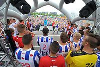 VOETBAL: ABE LENSTRA STADION: HEERENVEEN: 05-07-2014, Open dag SC Heerenveen, De nieuwe selectie tijdens het voorstellen aan het publiek, ©foto Martin de Jong