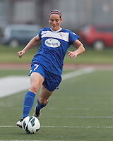 Boston Breakers defender Rhian Wilkinson (7) dribbles down the wing. In a National Women's Soccer League (NWSL) match, Seattle Reign FC (white) defeated Boston Breakers (blue), 2-1, at Dilboy Stadium on June 26, 2013.